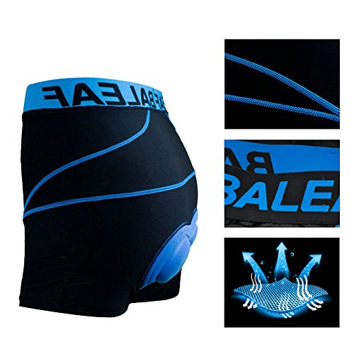 Baleaf Men's 3D Padded Cool Max Bicycle Underwear Shorts – Black/Blue, X-Large