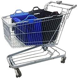 Sac à provisions réutilisable Vaiigo, grands sacs de shopping solides sacs d'épicerie supermarché chariot de courses sac chariot de courses (lot de 2) bleu/noir