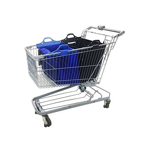 VAIIGO Easy-Shopper Standard einkaufstaschen, Einkaufen Laufkatze Beutel Wiederverwendbare Faltbare Einkaufswagen tasche Falt tasche (Schwarz/Blau) (Falt-shopper)
