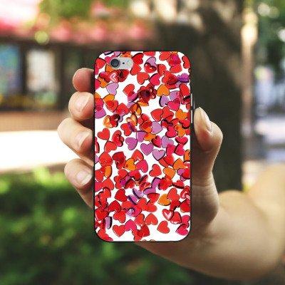 Apple iPhone 5s Housse Étui Protection Coque Amour Amour C½ur Housse en silicone noir / blanc