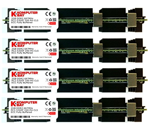 Komputerbay 8GB (4x2GB) DDR2 PC2-5300F 667MHz CL5 ECC Fully Buffered 2Rx4 FB-DIMM (240 PIN) w / Heatspreader für Apple-Computer