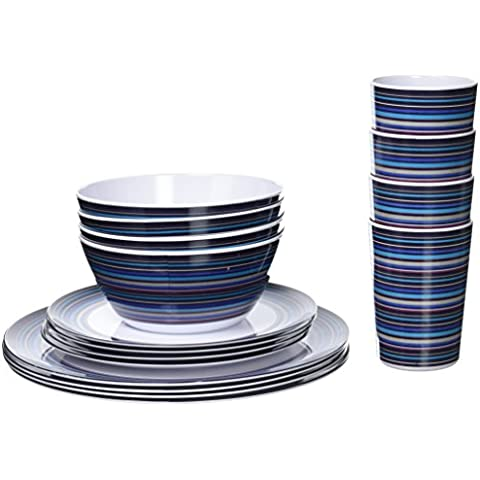 Outwell Breeze Picnic Set - Set de vajillas para 4 personas, blanco