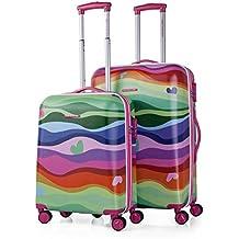 AGATHA RUIZ DE LA PRADA - Set 2 trolleys para mujer en ABS Olas, Color Fucsia