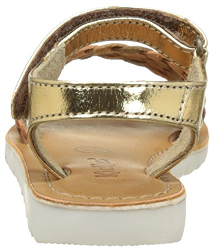 Kickers Brazil, Sandales Bout Ouvert Fille Marron (Camel Or)