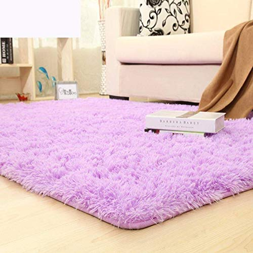 Über Living Room Coffee Table (Velvet living room coffee table carpet bedroom bedside bay window office full shop silk porch carpet customizable size-Violet,200 * 250CM)