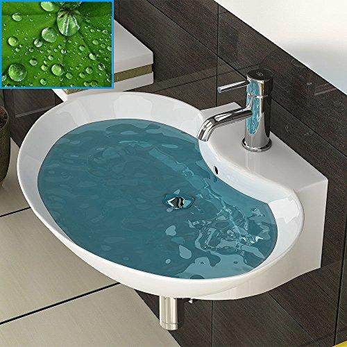 Weiss Keramik Waschschale mit Nano Lotus Effekt Waschtisch Waschplatz Badmöbel - Waschbecken zur Wandmontage