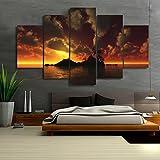 LA VIE 5 Teilig Wandbild Gemälde Sonnenuntergang Insel Hochwertiger Leinwand Bilder Moderne Kunstdruck als Ölbild für Zuhause Wohnzimmer Schlafzimmer Küche Hotel Büro Geschenk