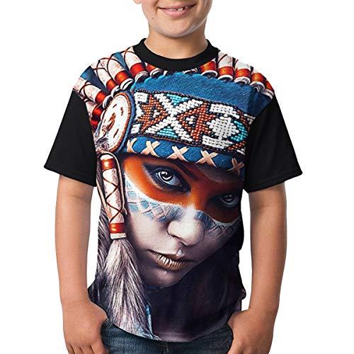 Johnson hop Indianer Mädchen Tattoo Teenager Junior Junge Mädchen Kurzarm T Shirt T(S,Schwarz) -