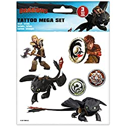 Craze 57767 – Tattoo Mega Set Dreamworks Dragons, 3 pliegos Tatuajes, surtidos
