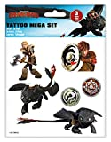 Craze 57767 - Tattoo Mega Set DreamWorks Dragons, 3 Bögen Tattoos, Sortiert