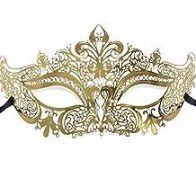 Signstek - Máscara veneciana de metal con estrás