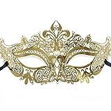 Signstek Deluxe Laser Cut Boutique Filigree Metal Masquerade Mask Rose Golden/White Rhinestone