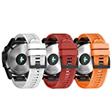 NotoCity Armband für Garmin Fenix 5X /Fenix 5X Plus/Fenix 6X /Fenix 6X Pro/Fenix 3 /Fenix 3 HR, 26mm Breite Silikon Quick-Fit Uhrenarmband für Garmin, Mehrfache Farben (3PCS)