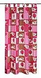 NOVUM fix Gardine * lustige Kindergardine mit Eichhörnchen - Motiv *180 x 135 cm (HxB) * rosa * Schlaufenschal *