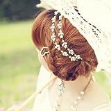 SODIAL(R) Frauen Elegante Blume elastisches Haar Band Stirnband Silber -