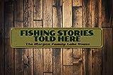 Zor345damilla Fishing Schild, personalisiertes Angelgeschichten, Told Here-Schild, Metall,...