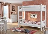 Erst-Holz® 60.16-10 W T100 Etagenbett für Erwachsene Weiß 100x200 cm, Nische 100 cm, teilbar, mit 2 Rollroste