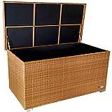 """RS Trade Premium """"Venezia"""" 950 L XXL Kissenbox (es Regnet Nicht rein) L 146 cm x B 83 cm x H 80 cm ideal als Buffet Tisch nutzbar mit 2 x Gasdruckstoßdämpfer und eingebauter Tischplatte Farbe: Natur"""