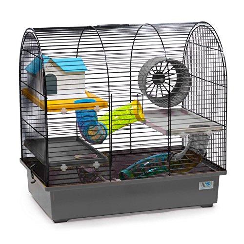 CTC-Trade | Hamsterkäfige Grau Außenmaße 49x32,5x48,5 Mäusekäfig Nager Hamster Plastik Kleintier Käfig mit Zubehör