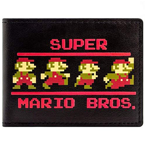 Kostüm Videospiel Deluxe Mario - Super Mario Bros 8-Bit Retro-Posen Portemonnaie Geldbörse Schwarz