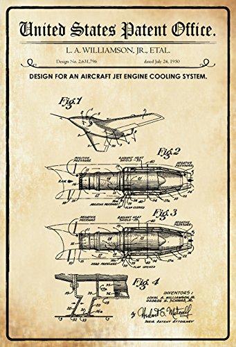 or an Aircraft jet Engine Cooling System - Entwurf für Flugzeug-Jet-Motorkühlsystem - Williamson 1950 - Urkunde No 2.631.796 - Schild aus blech, tin sign, geschichte (1950 Deko-ideen)