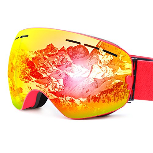 Skibrille, cnasa Skibrille mit Weitwinkel-Professionelle OTG über Gläser Anti Nebel Design, UV-Schutz, biegbare Rahmen, Helm kompatibel, Wind beständig belüftet für Jungen Mädchen, rot