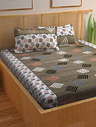 Story@Home Prism 120 TC Cotton Double Bedsheet with 2 Pillow Covers - Abstract, Queen Size, Grey
