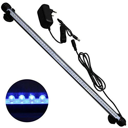 Mingdak LED Aquarium-Licht-Kit für Fischtank, Unterwasser-Tauchkristallglas-Leuchten, geeignet für Salzwasser und Süßwasser, 57 Leds, 18,5-Zoll, Beleuchtungsfarbe Blau