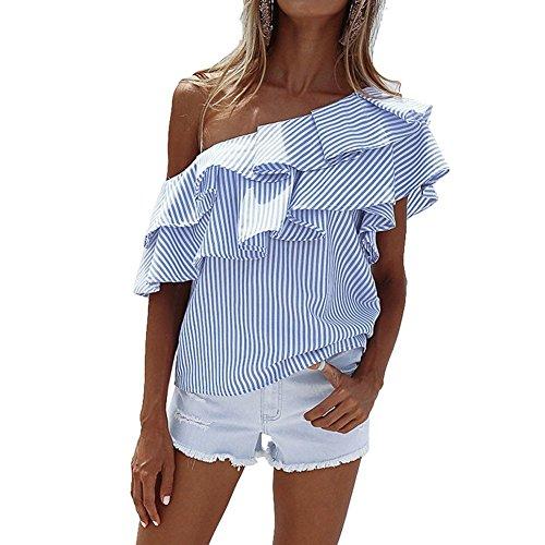 Landove Camicetta Monospalla Donna Asimmetrico Camicia a Righe T-Shirt Estive Manica Corta Maglietta con Volant Bluse Maglie Tops