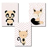 Poster da parete per la camera dei bambini in un set di 3 DIN A4 Formato Fox Panda Cat Panda Cat Baby room Poster Immagini Decorazione Camera dei bambini senza cornice cornice