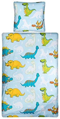Aminata Kids - Kinder-Bettwäsche 100-x-135 cm Dino-saurier-Motiv T-Rex Urzeit-Tier Vulkan Jurassic 100-% Baumwolle blau-e Gruen-e