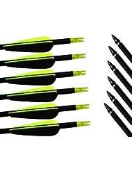 Flèches et Arcs Carbone Mixte 32 pouces Archery sharly, Tir à l'Arc, Sports et loisirs, Tête de flèche en acier inoxydable Remplaçable, Encoche en plastique, Plume plastique, Flèche pour l'extérieur et pour la chasse, Couleur verte et noire