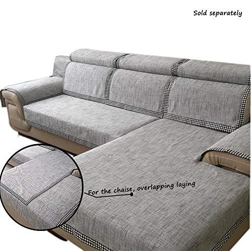 Bettwäsche Aus Baumwolle Sofa Überwurf Sofabezug Einfarbig Weich Schnitt Couch-abdeckungen Schmutzresistent Sofa Throw Für L Shape Couch Pet-grau 110x240cm(43x94inch) (Sofa Grau Schnitt)