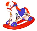 #6: Bluday Ultima 2 in 1 Horse Rocker 'n' Ride on, Horse Rocker for 2 Year Kids, ABS Plastic, 2-5 Years, White Blue