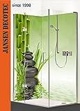 Eck - Duschrückwand, links 90x200cm, rechts 120x200cm, Motiv: ZEN Steine Bambus