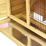 Hasenstall / Kaninchenstall STELLA aus massivem Tannen-Holz in 92x45x70 cm - Kleintier-Stall für Draußen - Wetterfester Schutz & Rückzugsort für Hase & Kaninchen im Sommer & Winter - TIMBO - 4
