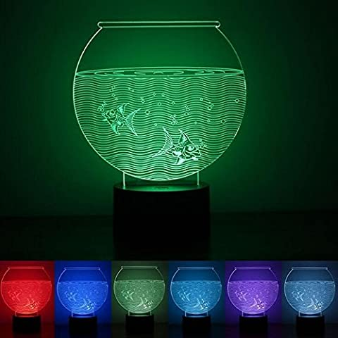 New 3D Novelty Aquarium Fish Tank Night Light 7 Color