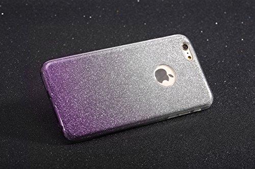 iPhone 6 Plus Coque Silicone Transparent,iPhone 6S Plus Coque TPU,JAWSEU Luxury Placage Rose Or Éclat Brillant avec Diamant en Silicone Téléphone Shell Coque Étui,Bling Sparkle Flash Scintillant Stras violet/sparkle