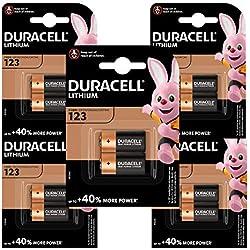 Pile lithium haute puissance Duracell 123 3V, pack de 10 (CR123 / CR123A / CR17345), conçue pour une utilisation dans les caméras Arlo, capteurs, verrous sans clé, flashs photo et lampes de poche