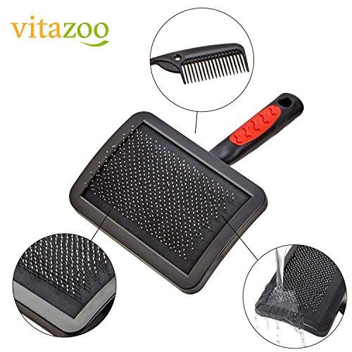 VITAZOO Premium Hundehaarbürste Hundebürste, Softbürste, Fellbürste in schwarz für Hunde und Katzen mit 2 Jahren Zufriedenheitsgarantie - 2