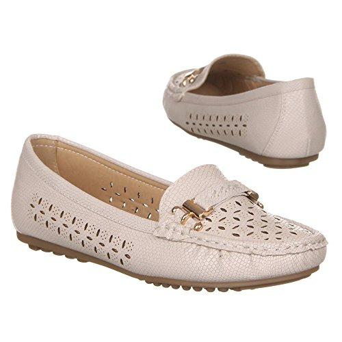 Damen Schuhe Luftige Halbschuhe Espadrilles Mokassins Slipper Low Top Flats Ital-Design Creme