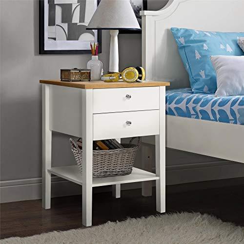 ModernLuxe Nachttisch (47x65x43cm) Wohnzimmer Weiß Telefontisch Nachtkommode Nachtschrank Holz Schrank Sideboard mit 2 Schubladen für Wohnzimmer Schlafzimmer Wohnzimmer