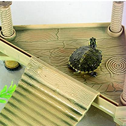 Soccik Reptile Turtle Frog Turtle Platform Pier Durable Plastic Turtle Roof Terrace Floating Pier Floating Rock Aquarium… 5