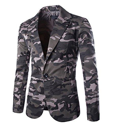 Herren Sakko Blazer Freizeit Slim fit Jacket tarnung Jacke Anzugsjacke Grau L