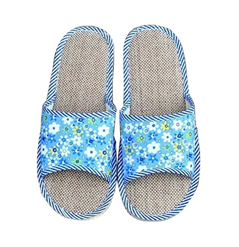 Pantofole di cotone per pavimenti in lino per la casa Comodità, blu