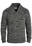 !Solid Phil Herren Winter Pullover Strickpullover Grobstrick Pullover mit Schalkragen In Melange-Optik, Größe:3XL, Farbe:Black (9000)