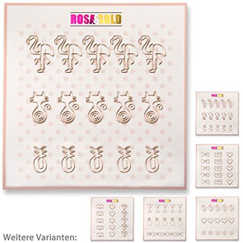 Rosa&Gold 15er Set Deko Büroklammern - 5x Flamingo, 5x Katze, 5x Ananas (Set1 Rosegold) - Ananas Grenze