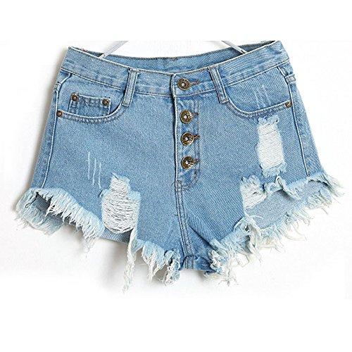 Haughtily Frauen Niedrige Taille Klassische Loch Jeans Ausschnitt Tassel Denim Shorts Mit Taschen Metallknöpfe Sommer Shorts