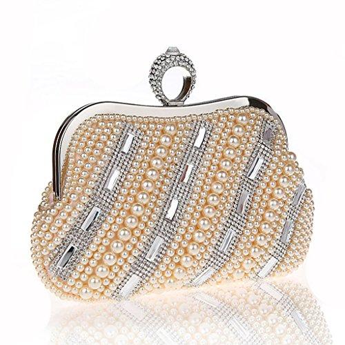 Nuovi mini perline anello di diamanti luminosi borsa borsa borsa sera di banchetto sacchetto della sposa vestito da modo Pochette ( Colore : Nero ) Champagne