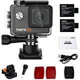 """ThiEYE I60e 4K Wifi Action Camera 2"""" HD Screen 197FT Waterproof Video Sport Cam 170 Wide Angle APP Control With Full Accessories Black"""